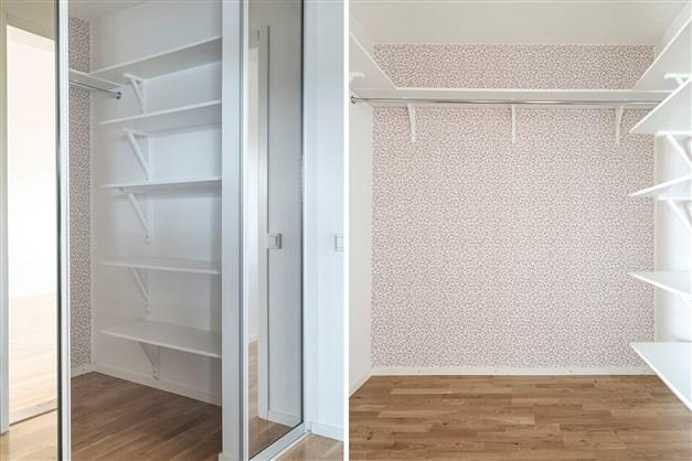 Walk in closet mellan badrummet och sovrummet.