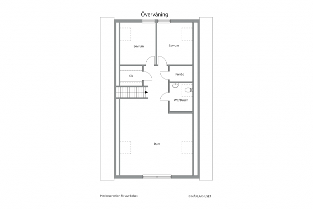 Nuvarande planlösning är sovrum 5 och 6 istället ett rum. Det går dock att återställa till till tidigare planlösning som ritning visar för den som önskar.