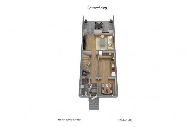 Planritning bottenvåning 3D