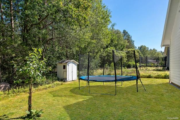 TRÄDGÅRD - på baksidan av huset har man gott om yta för lek och bus.