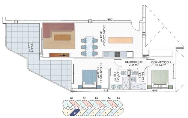 Exempel på lägenhet med balkong mot sydost