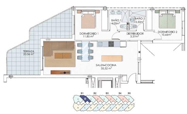 Exempel på lägenhet med balkong mot sydväst