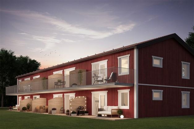 Uteplats eller balkong till alla lägenheter