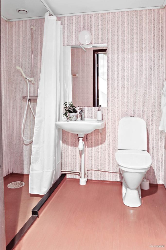 Toalett med dusch i entréplan. Som ni ser är det original.