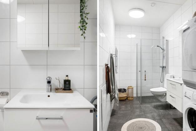 Helkaklat badrum där du även har egen tvättmaskin och torktumlare