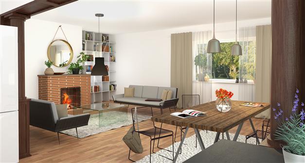Vardagsrum/matplats i öppen planlösning, med öppen spis och panoramafönster (lgh 3)