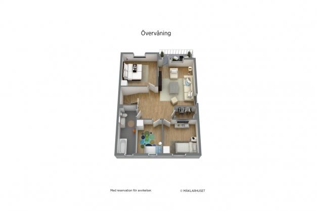 Planlösning 3D övervåning.