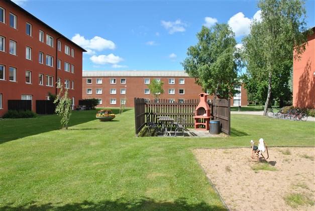 Trevlig innergård md bland annat gemensam grillplats (arkivbild)