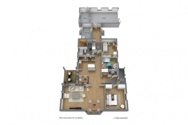 Planritning, (avvikelser kan förekomma och skalenlighet garanteras ej). Möbleringen är endast exempel.