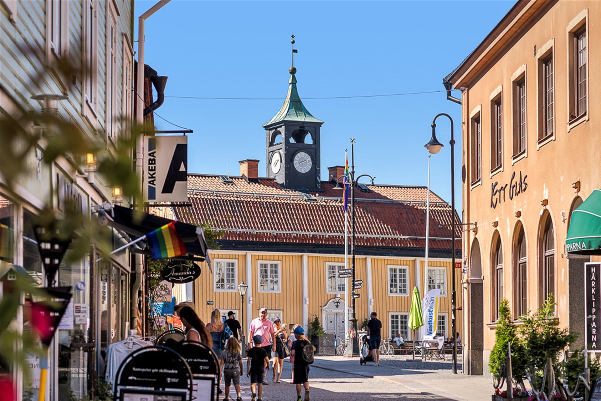 Gågatan vid Stora Torget i Norrtälje