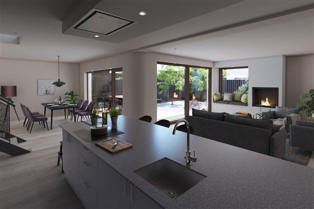 Illustration överkök och vardagsrum för Kvarteret Sandslottet