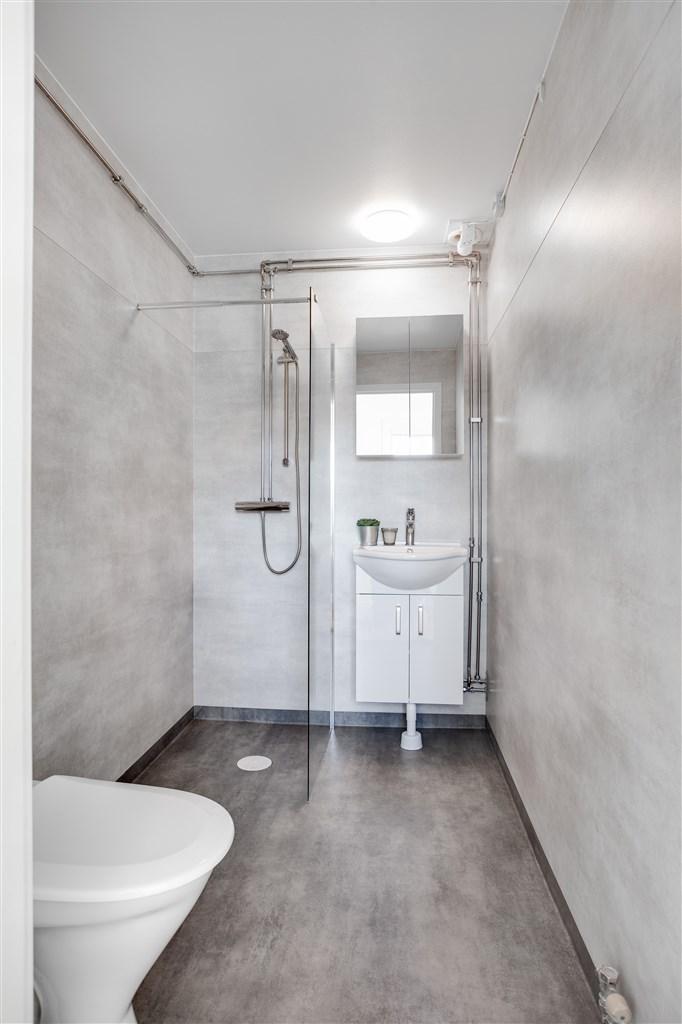 Helrenoverad dusch/wc i gråa toner.