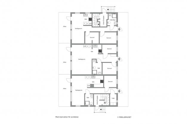Förslag på planlösning på entréplan