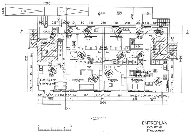 Ritning gällande inlämnad bygglovsansökan om två lägenheter på entréplan