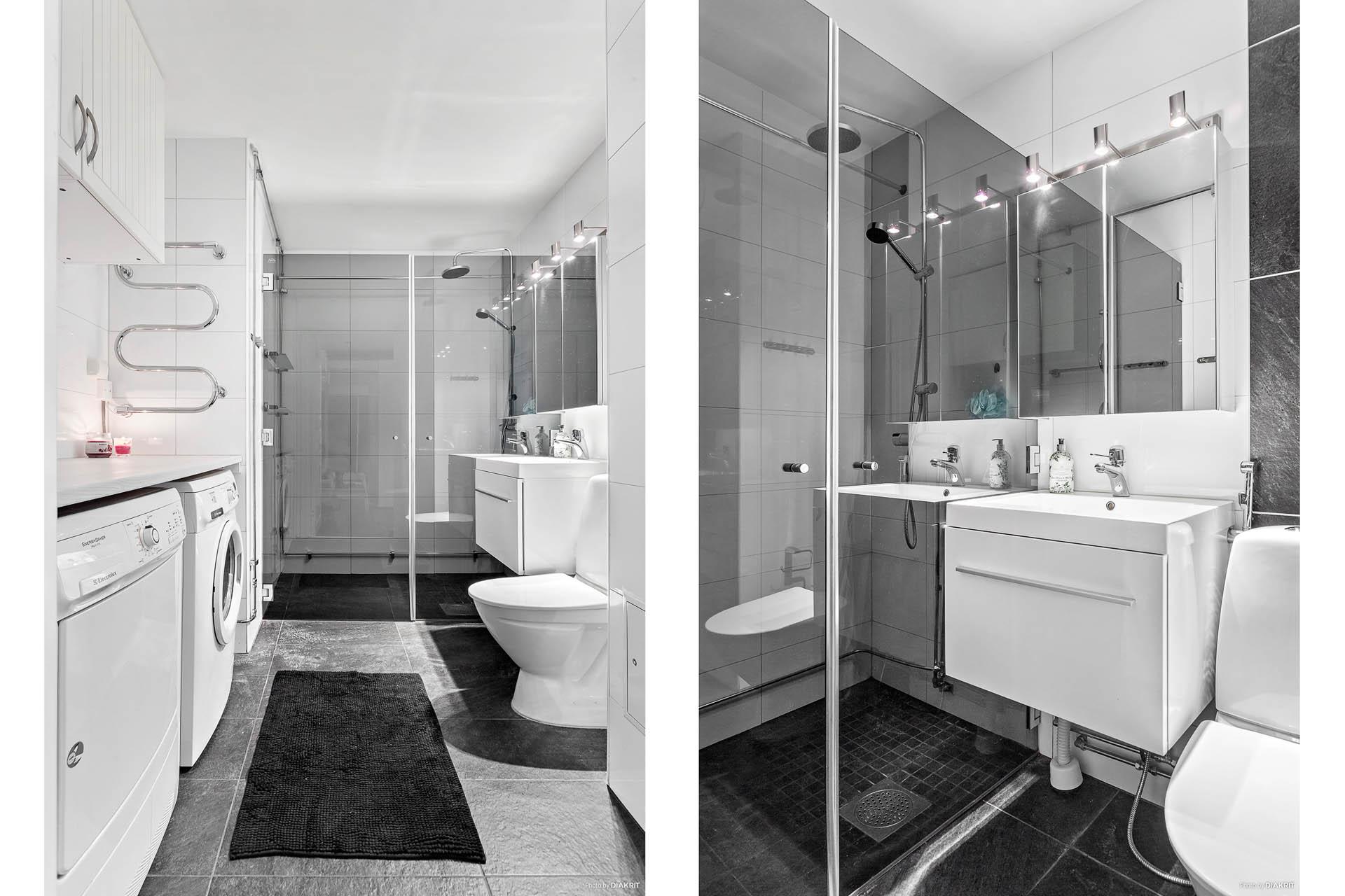 Badrum med tvättmaskin och torktumlare, golvvärme och stor dusch.