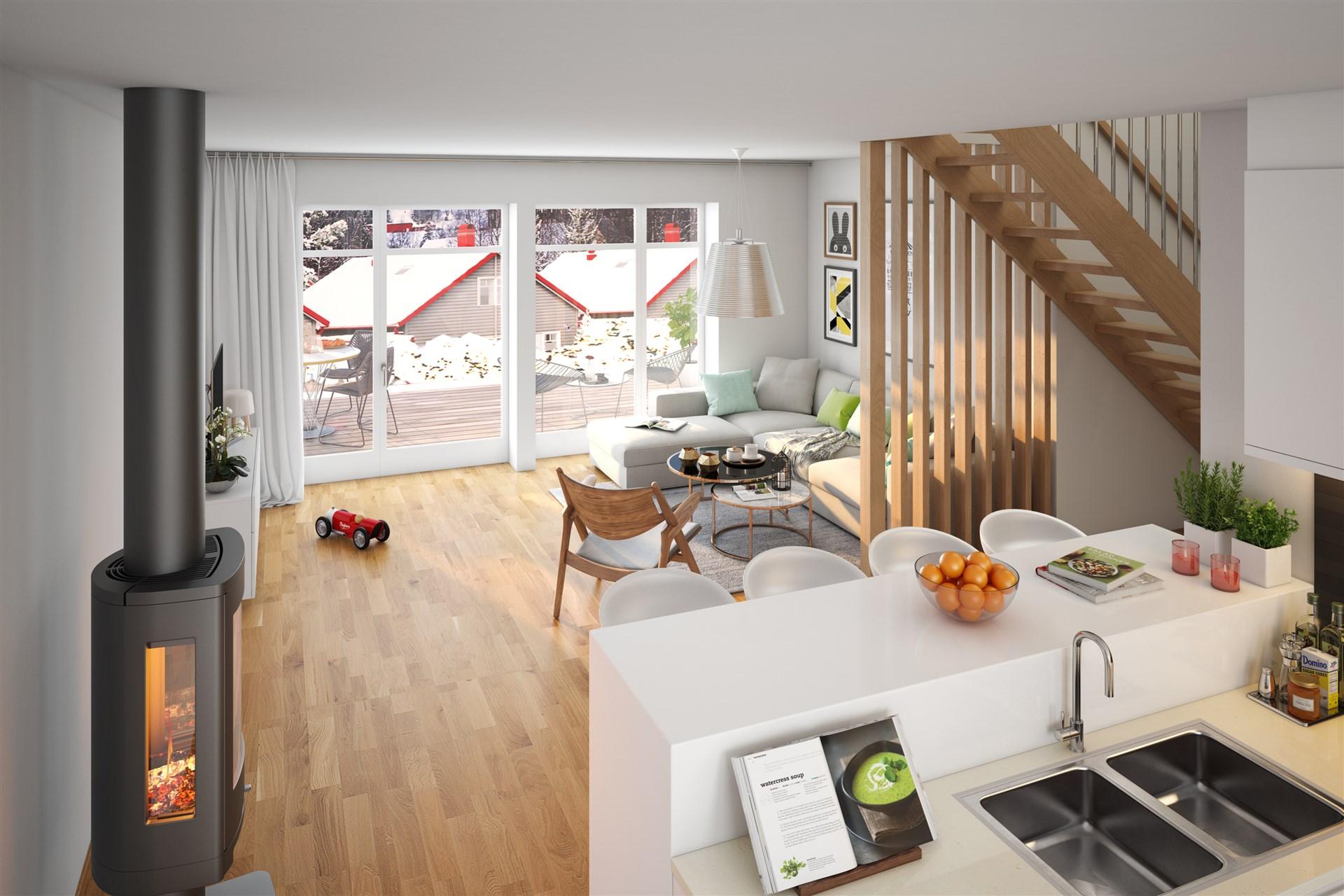 Kök/vardagsrum i öppen planlösning med möjlighet att välja tillval med inredd vind.