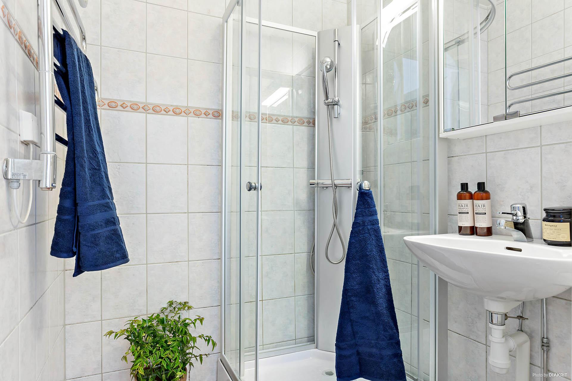 Helkaklat duschrum med kabin och handfat