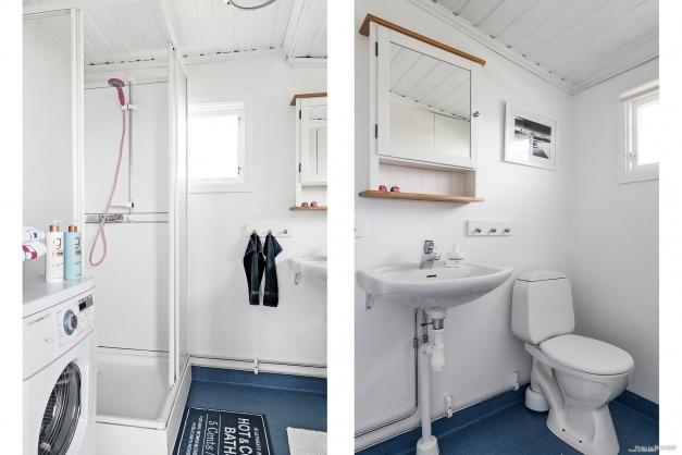 Toalett med våtrumsmatta, wc, handfat, dusch och tvättmaskin.