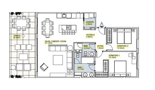 Fler planritningar finns att tillgå, lägenheterna varierar i storlek, pris och planlösning.