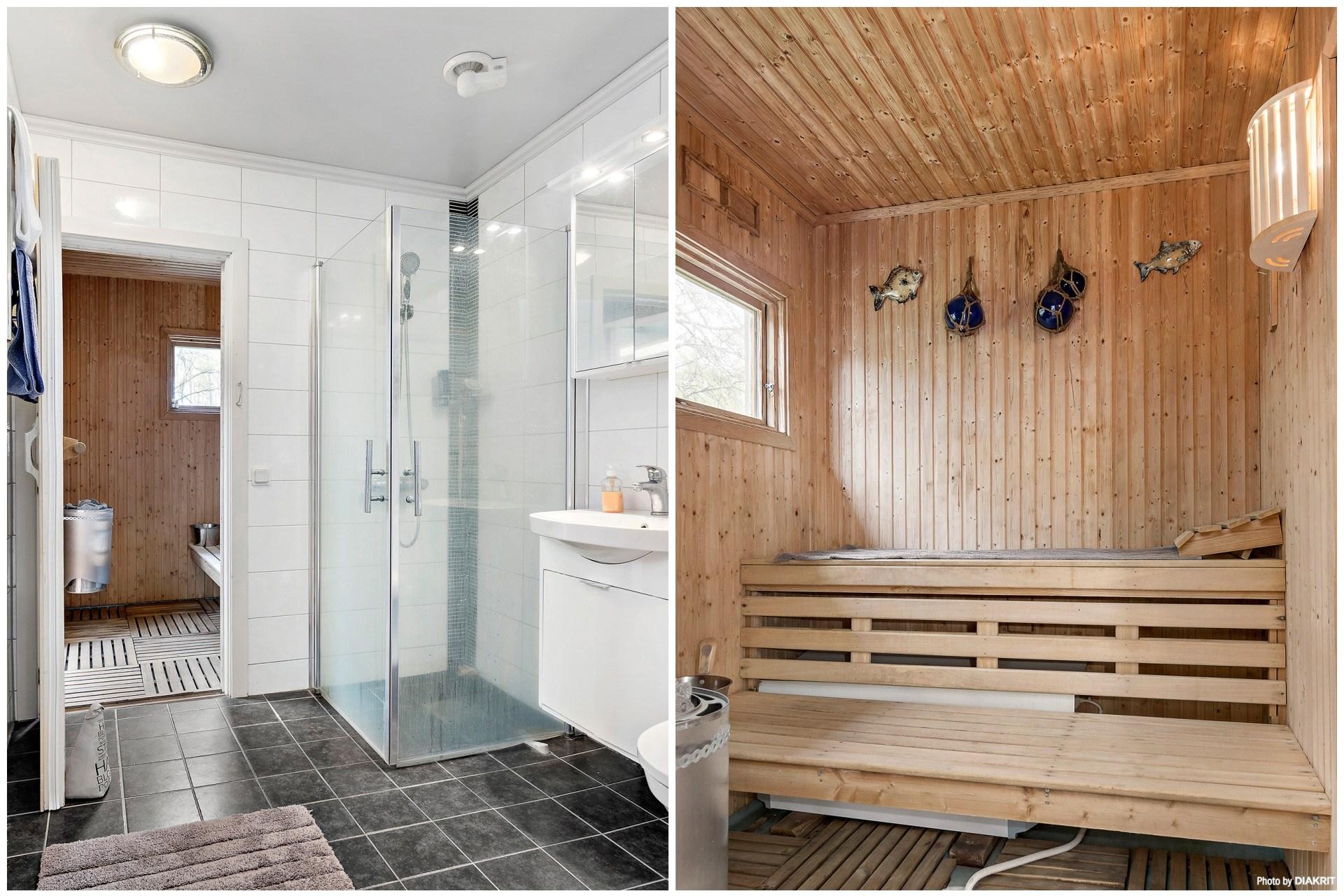 Helkaklat badrum och bastu