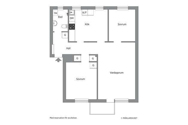 Alternativ planlösning där bostaden disponeras som en 3 rok + större badrum