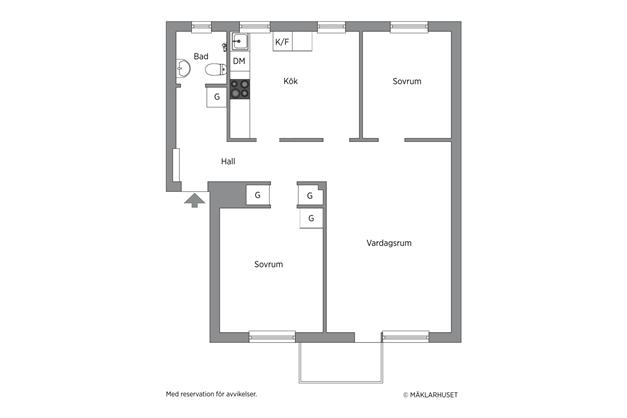 Alternativ planlösning där bostaden disponeras som en 3 rok
