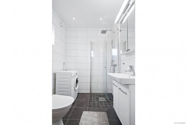 Toalett med dusch och tvättmaskin.