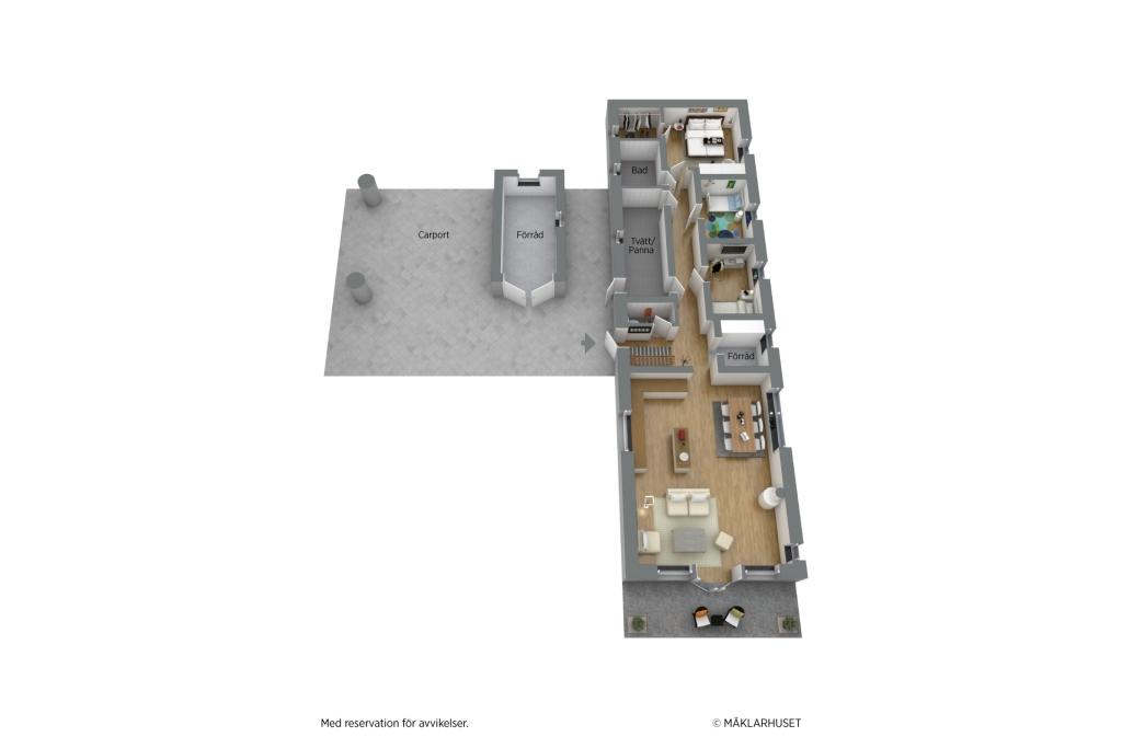 Planritning 3D, möblerad 1-planshus
