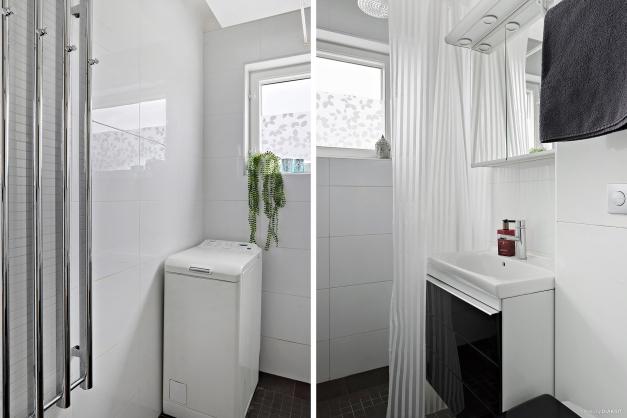 Duschrum med egen tvättmaskin