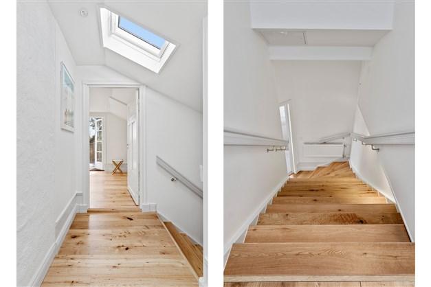 Hall och trappa upp till lägenheten