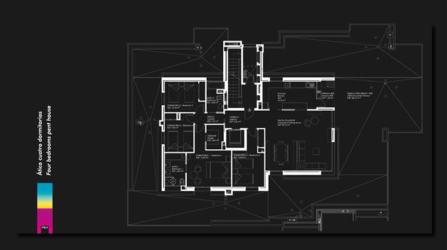 Planskiss takvåning 4 sovrum