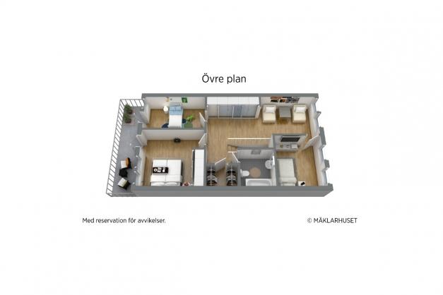 3D planritning övre plan.