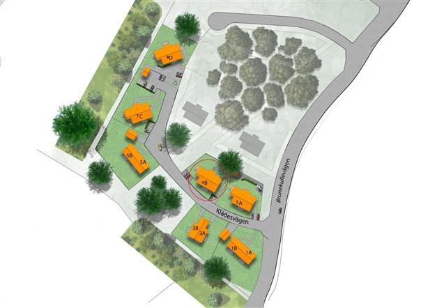 Brf Västra Klädesvägen, 30 bostadsrätter.  3 stycken parhus med två lägenheter i varje samt 4 stycken flerbostadshus med 6 bostäder i varje.