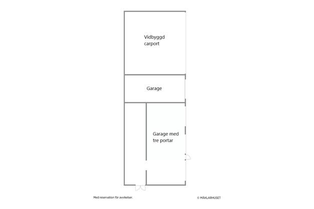 Garage med vidbyggd carport