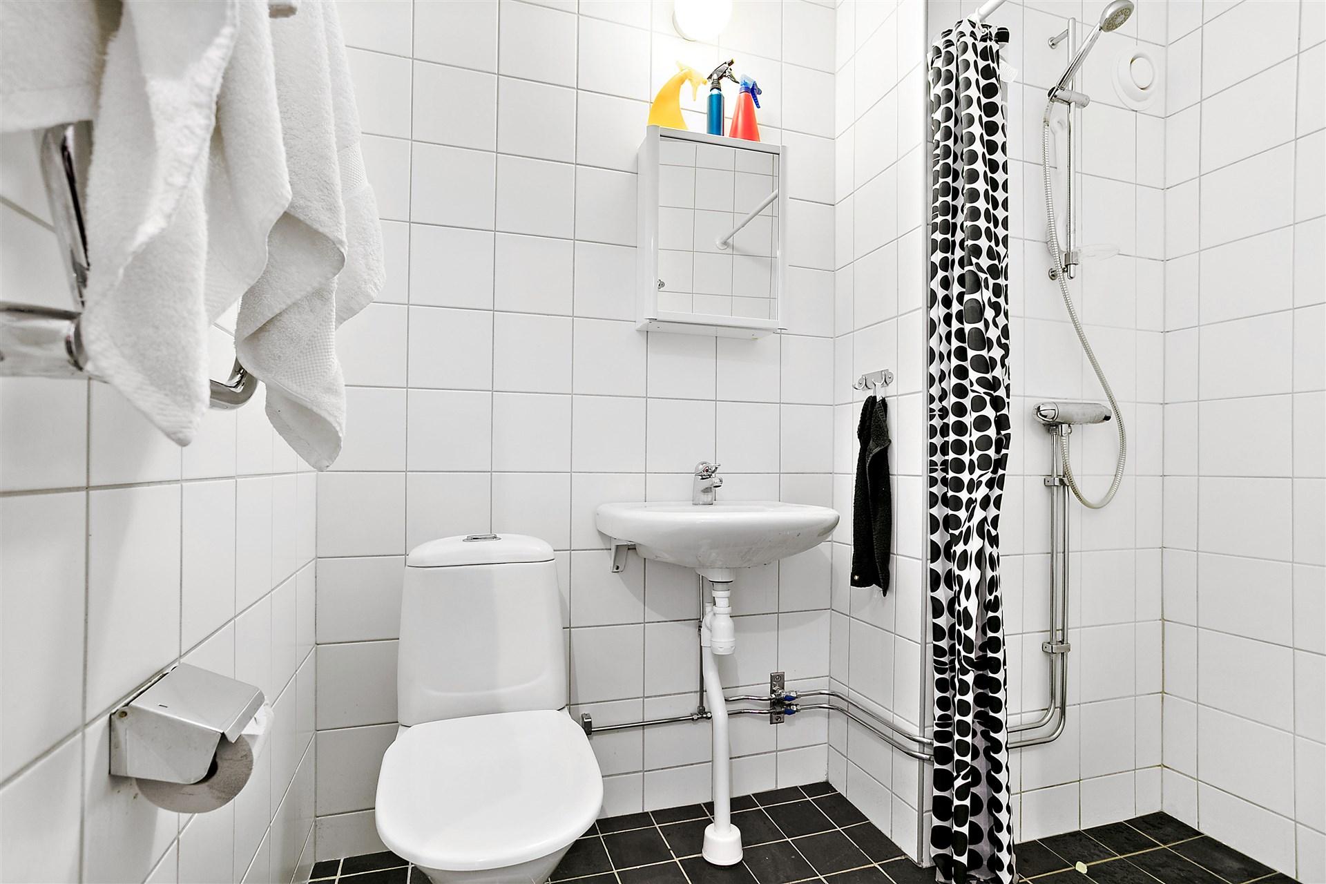 Fräscht helkaklat duschrum med vita väggar och svarta klinker.