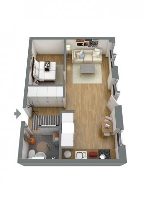 Planskiss möblerad