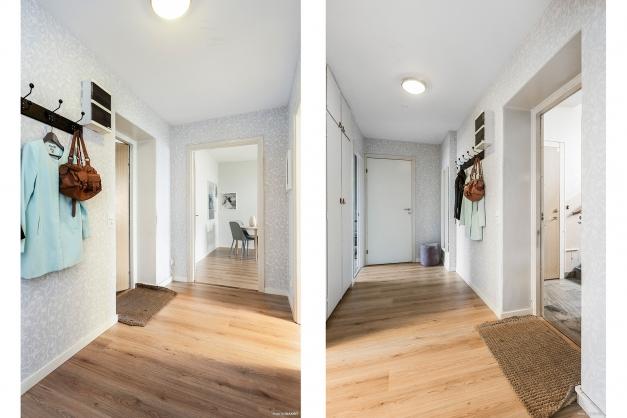 Ljus entréhall med garderober och plats för avhängning