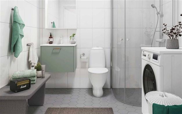 Exempel badrum. Visionsbild Stena fastigheter.