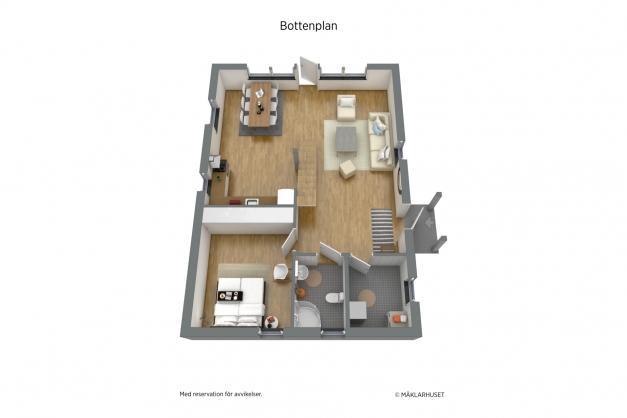 Planritning 3D, bottenvåning