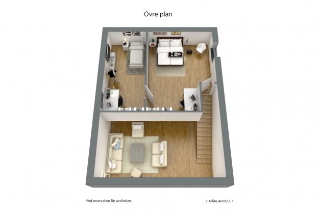 Planritning ovanvåning, ej skalenlig