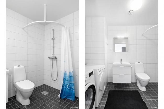 Det helkaklade badrummet har dusch, wc och handfat, samt tvättmaskin och torktumlare från Bosch.