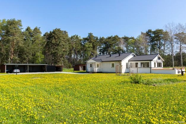 Enplans bostadshus med vidbyggt uterum