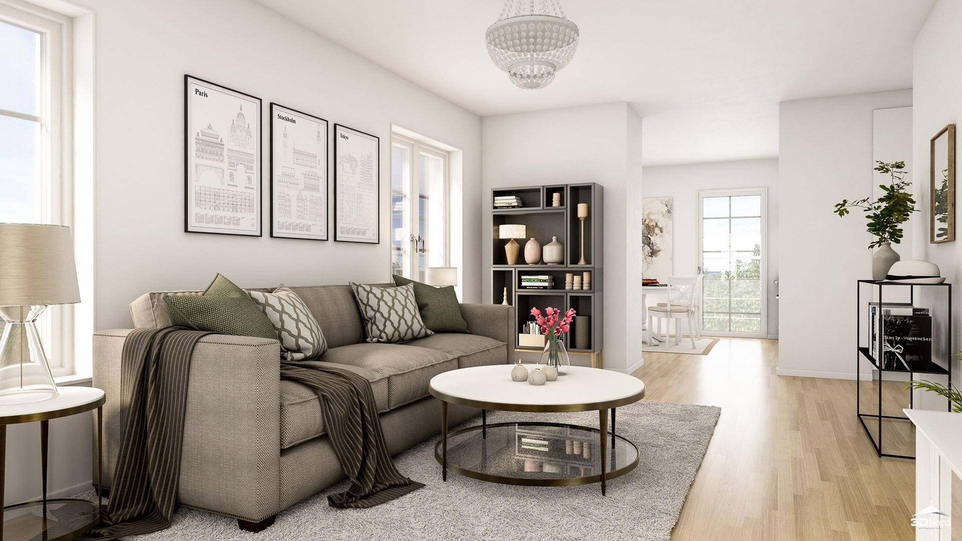 Vardagsrum i en 3:a  Bilderna är illustrationer och avvikelser kan förekomma.