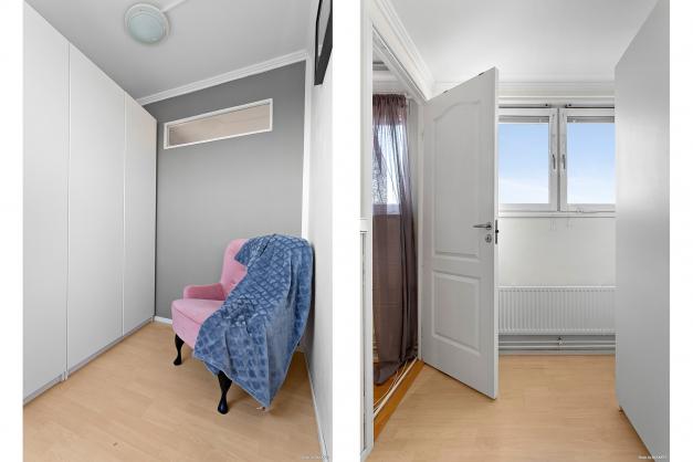 Sovrum 2 mot vardagsrummet och köket