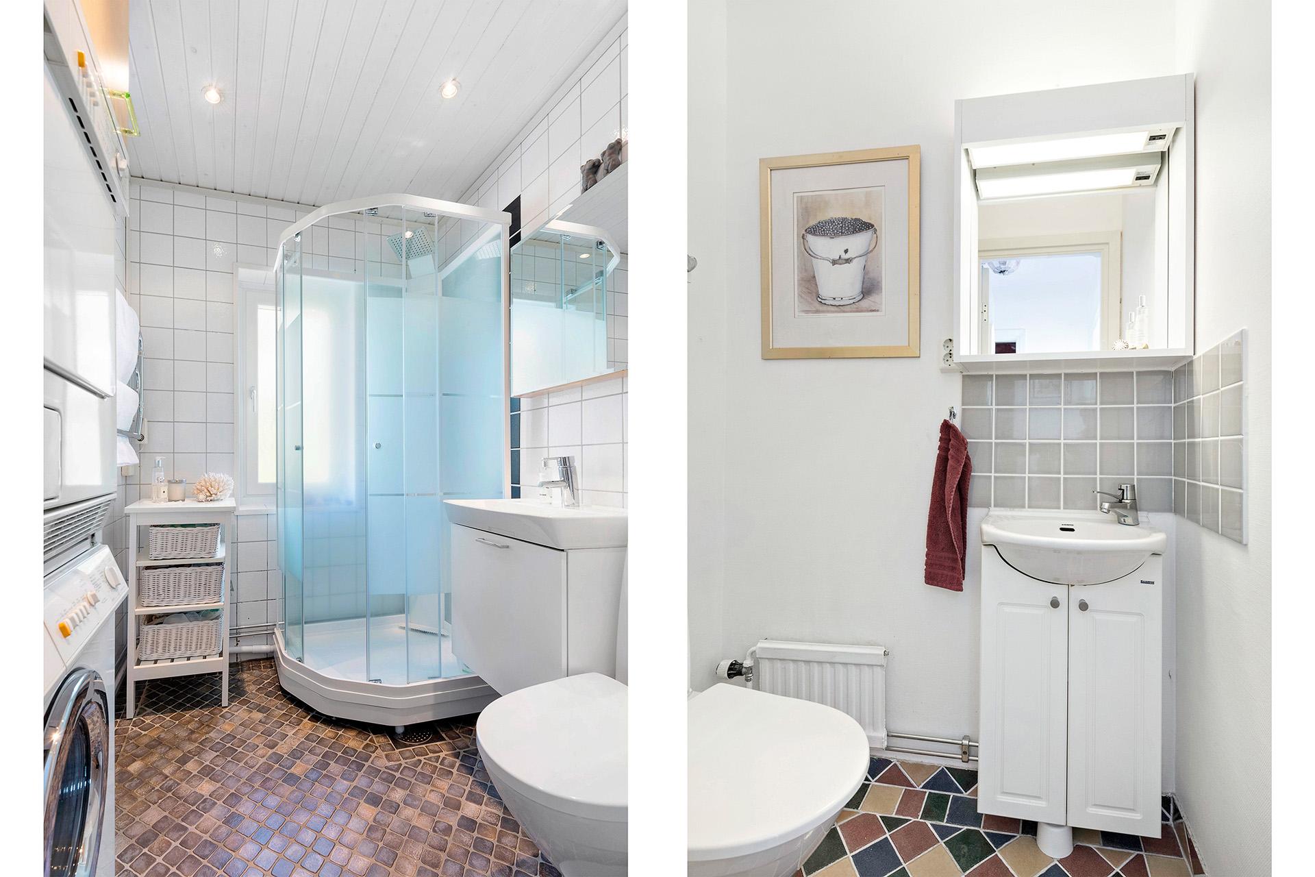 Duschrummet med tvättdel samt gästtoaletten