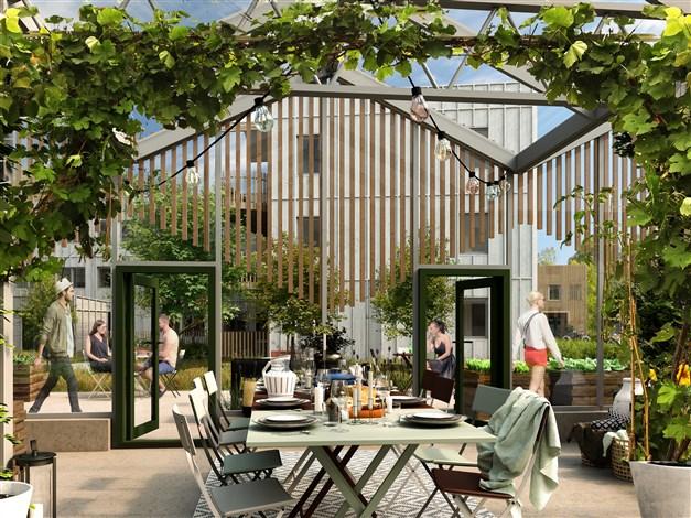 ... och ett växthus som även kan fundera som en festlokal.