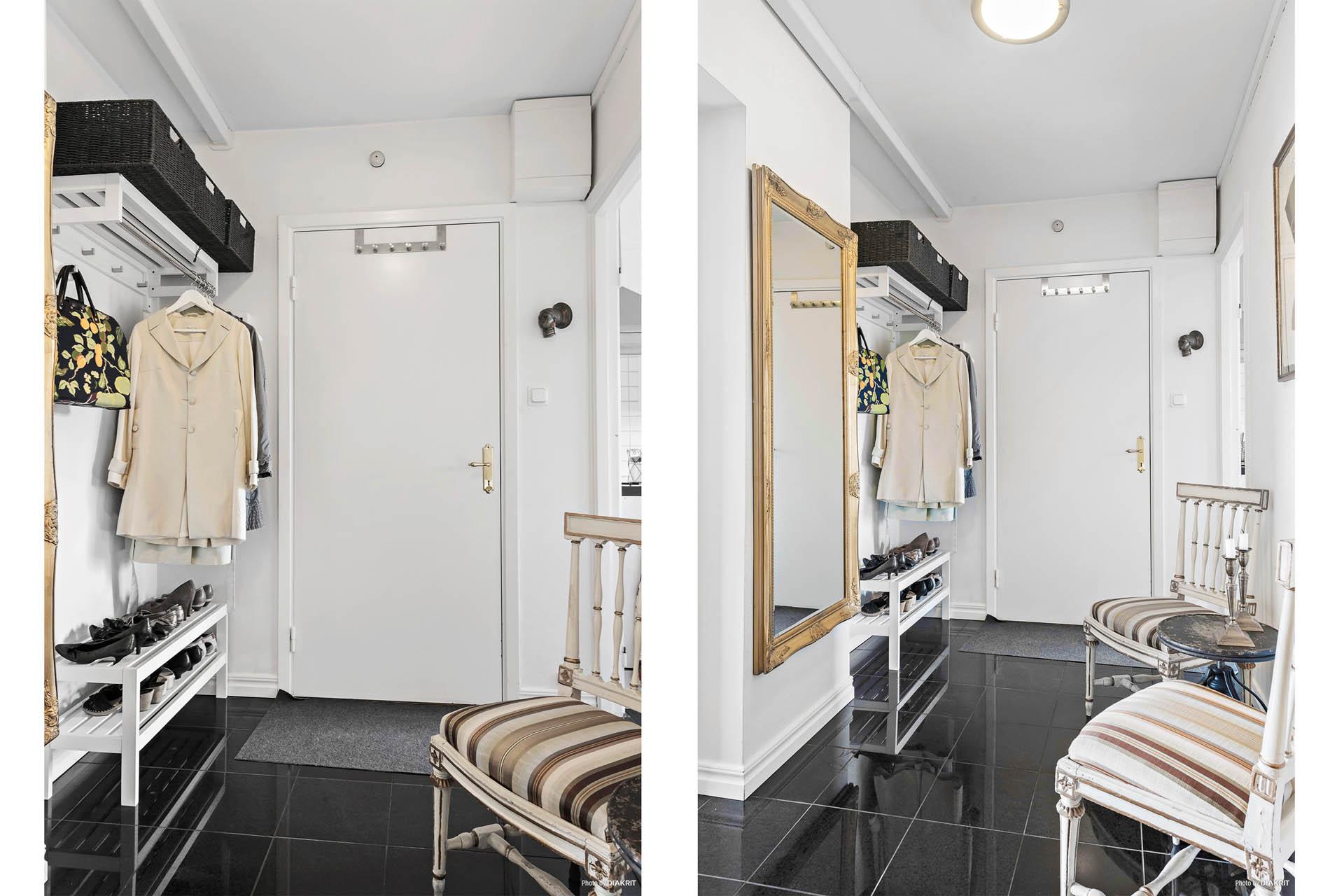 Hallen! Snyggt och lättskött golv, vita väggar.