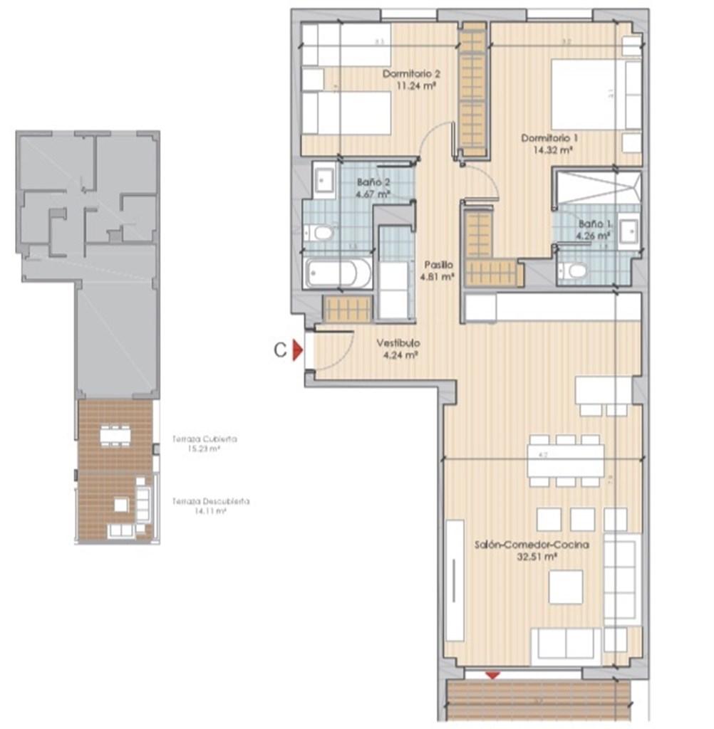 Exempel planlösning: Entréplan om 91,28 kvm. Terrass och inglasad terrass.