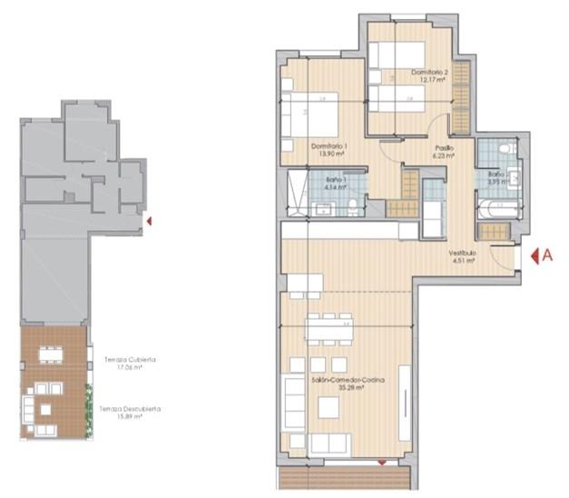 Exempel planlösning: Entréplan om 97.24 kvm Terrass och inglasad terrass.