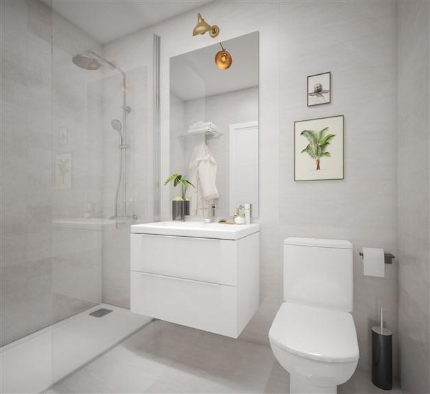Illustrationsbild - Badrum med dusch
